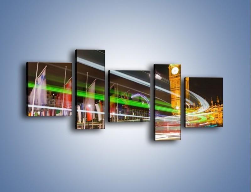 Obraz na płótnie – Światła samochodów na tle Big Bena – pięcioczęściowy AM283W7