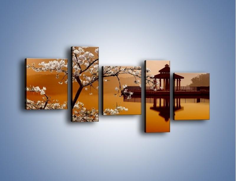 Obraz na płótnie – Kwiaty na tle Sun Moon Lake – pięcioczęściowy AM301W7