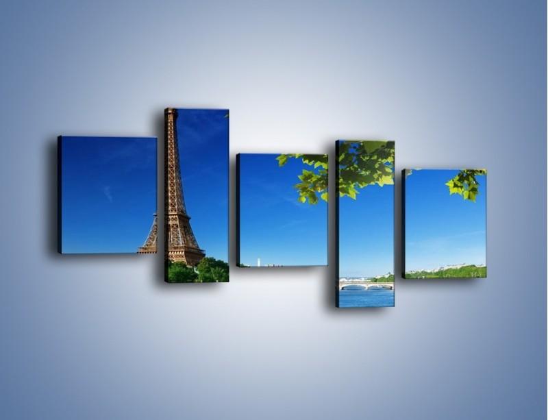 Obraz na płótnie – Wieża Eiffla w piękny dzień – pięcioczęściowy AM304W7