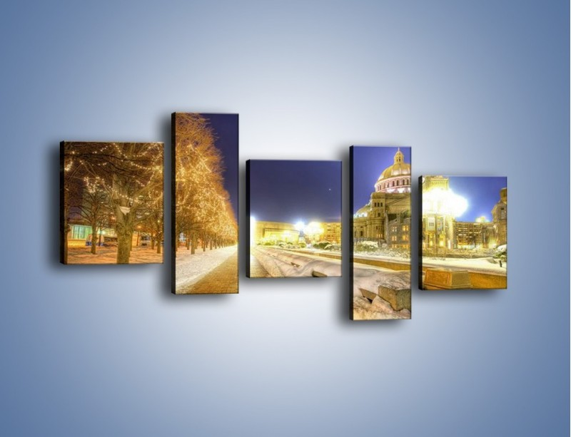 Obraz na płótnie – Zaśnieżona aleja bostońska – pięcioczęściowy AM317W7