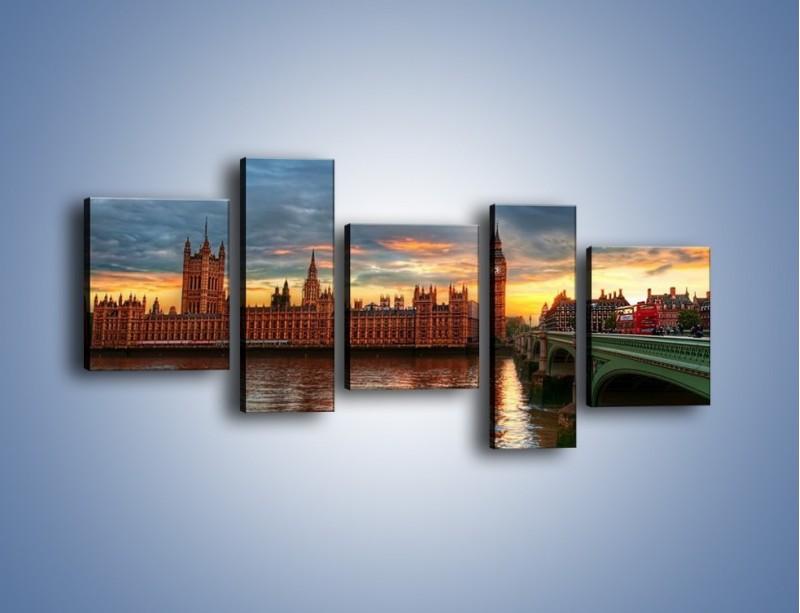 Obraz na płótnie – Pałac Westmnisterski i Big Ben – pięcioczęściowy AM321W7