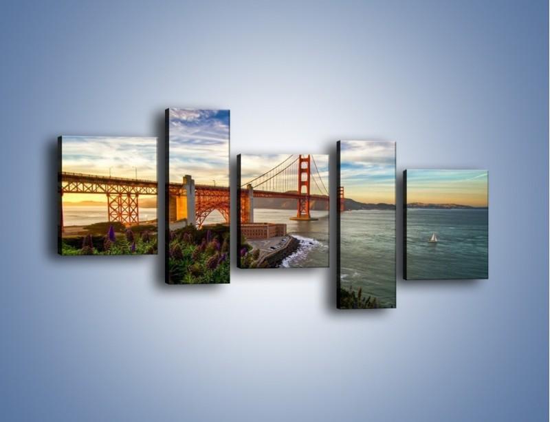 Obraz na płótnie – Most Golden Gate o zachodzie słońca – pięcioczęściowy AM332W7