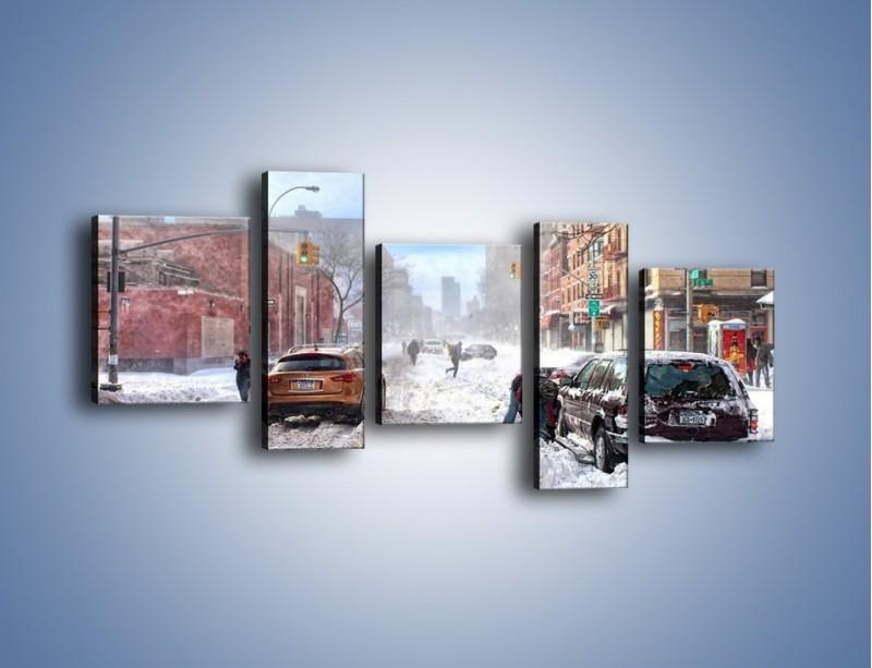 Obraz na płótnie – Zaśnieżone ulice miasta – pięcioczęściowy AM342W7
