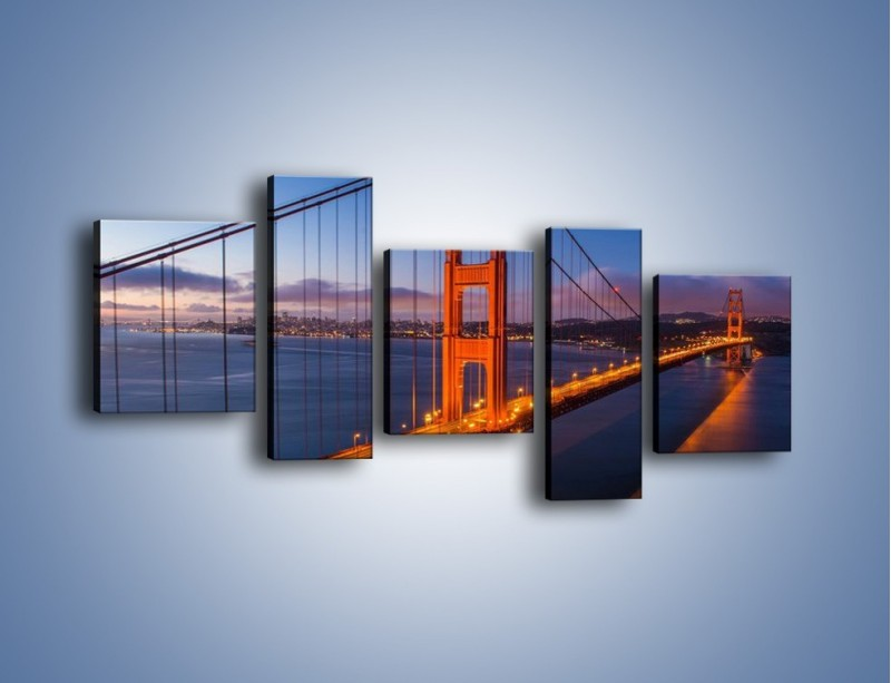 Obraz na płótnie – Rozświetlony most Golden Gate – pięcioczęściowy AM360W7