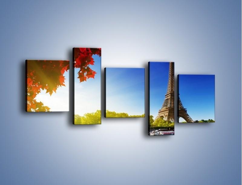 Obraz na płótnie – Wieża Eiffla w piękny dzień – pięcioczęściowy AM373W7