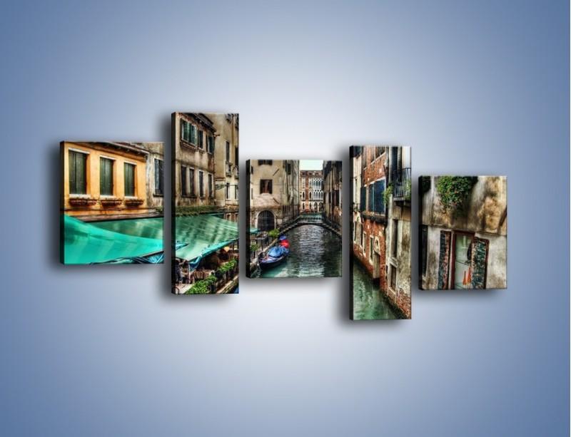Obraz na płótnie – Wenecka uliczka w kolorach HDR – pięcioczęściowy AM374W7
