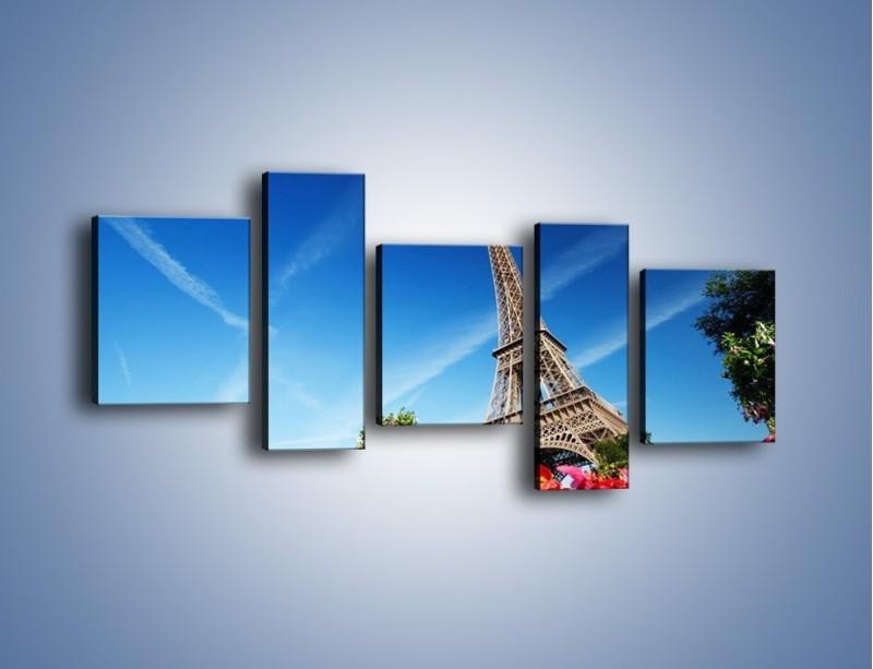 Obraz na płótnie – Wieża Eiffla pod błękitnym niebem – pięcioczęściowy AM379W7