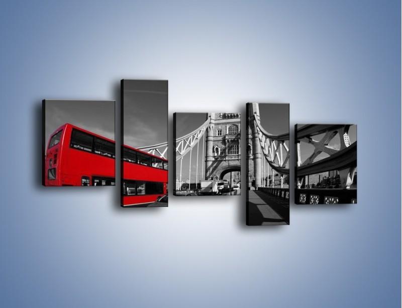 Obraz na płótnie – Tower Bridge i czerwony autobus – pięcioczęściowy AM394W7
