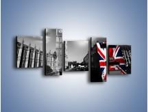 Obraz na płótnie – Big Ben i autobus z flagą UK – pięcioczęściowy AM396W7