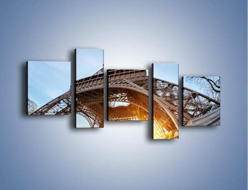 Obraz na płótnie – Wieża Eiffla w słońcu – pięcioczęściowy AM403W7