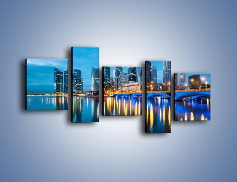 Obraz na płótnie – Kolorowe światła Singapuru – pięcioczęściowy AM408W7