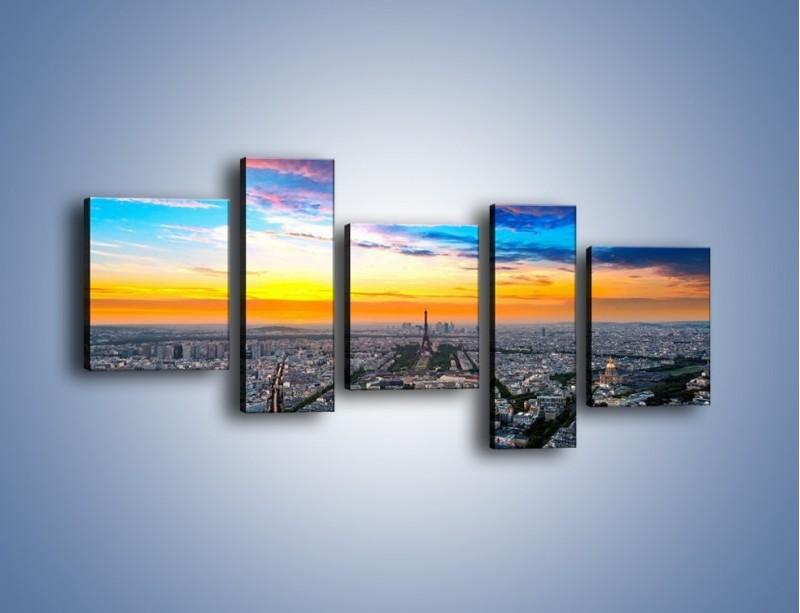 Obraz na płótnie – Panorama Paryża – pięcioczęściowy AM415W7