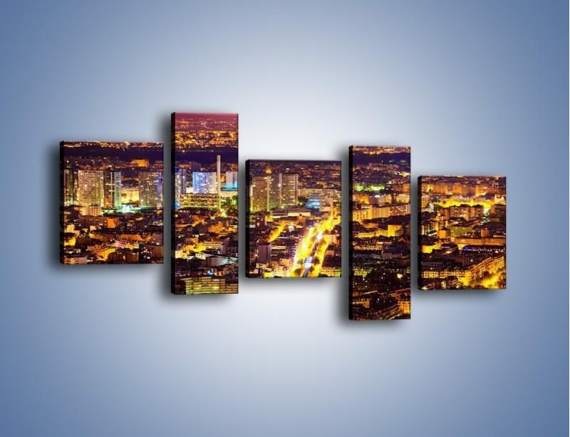 Obraz na płótnie – Kolory Paryża nocą – pięcioczęściowy AM419W7