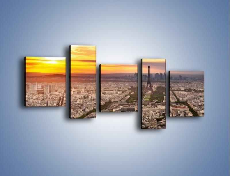 Obraz na płótnie – Zachód słońca nad Paryżem – pięcioczęściowy AM420W7