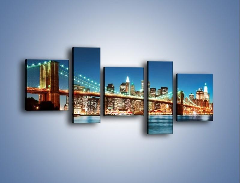 Obraz na płótnie – Most Brookliński na tle Nowego Jorku – pięcioczęściowy AM428W7