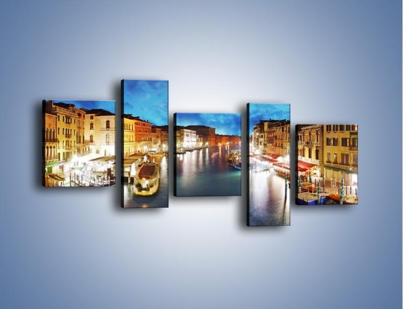 Obraz na płótnie – Światła Wenecji po zmroku – pięcioczęściowy AM430W7