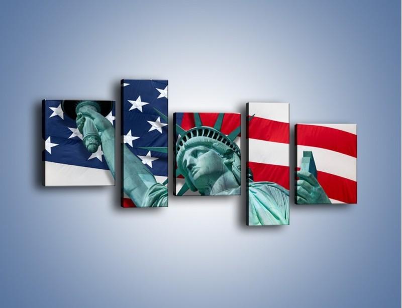 Obraz na płótnie – Statua Wolności na tle flagi USA – pięcioczęściowy AM435W7