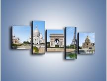 Obraz na płótnie – Atrakcje turystyczne Paryża – pięcioczęściowy AM448W7