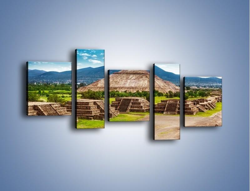 Obraz na płótnie – Piramida Słońca w Meksyku – pięcioczęściowy AM450W7