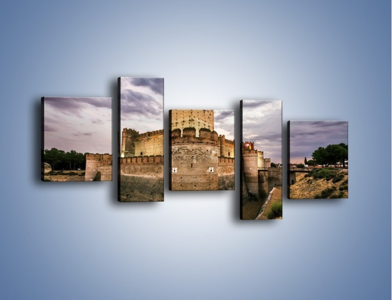 Obraz na płótnie – Zamek La Mota w Hiszpanii – pięcioczęściowy AM457W7
