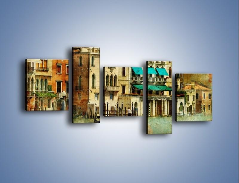 Obraz na płótnie – Weneckie domy w stylu vintage – pięcioczęściowy AM459W7