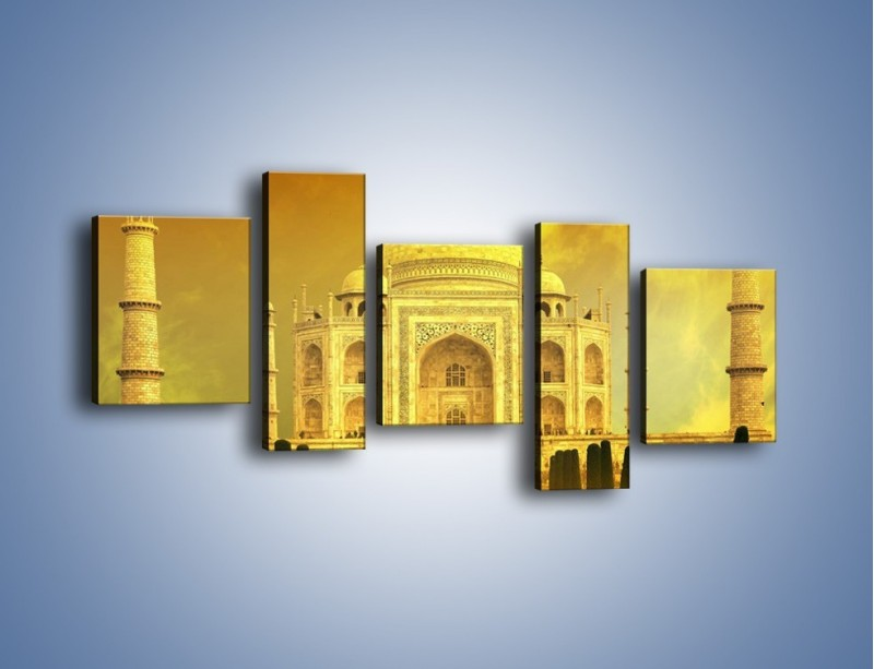 Obraz na płótnie – Tadź Mahal w żółtym kolorze – pięcioczęściowy AM465W7