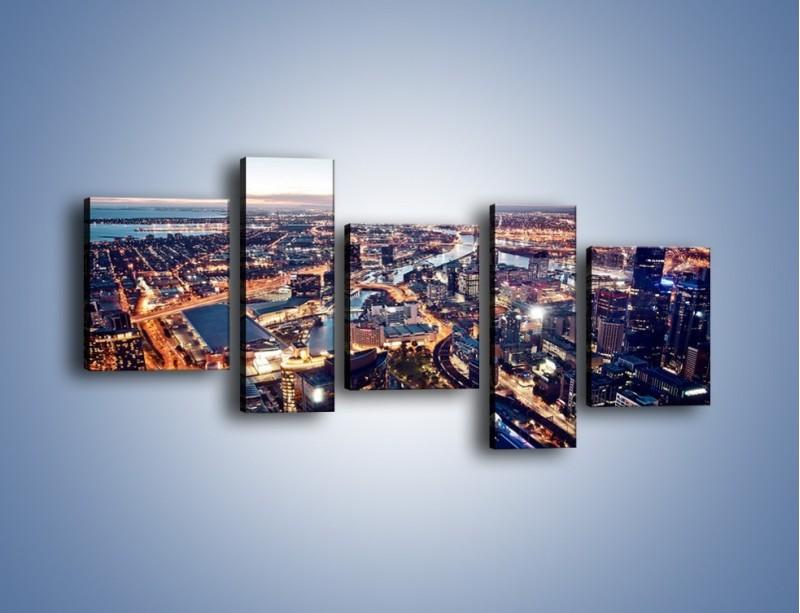 Obraz na płótnie – Panorama Melbourne po zmierzchu – pięcioczęściowy AM470W7