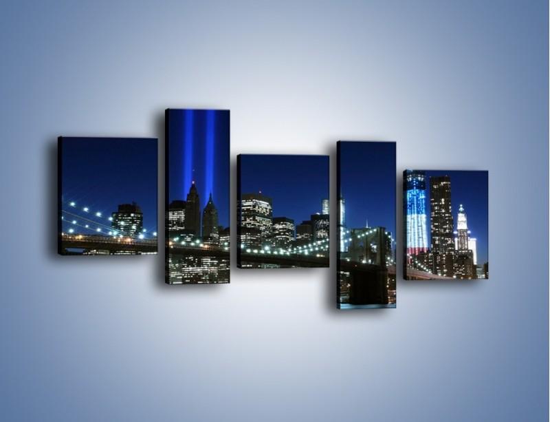 Obraz na płótnie – Most Brookliński nocą – pięcioczęściowy AM476W7