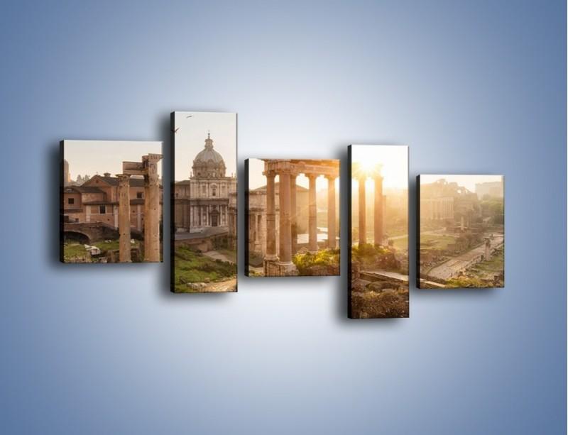 Obraz na płótnie – Rzymskie ruiny o zachodzie słońca – pięcioczęściowy AM480W7