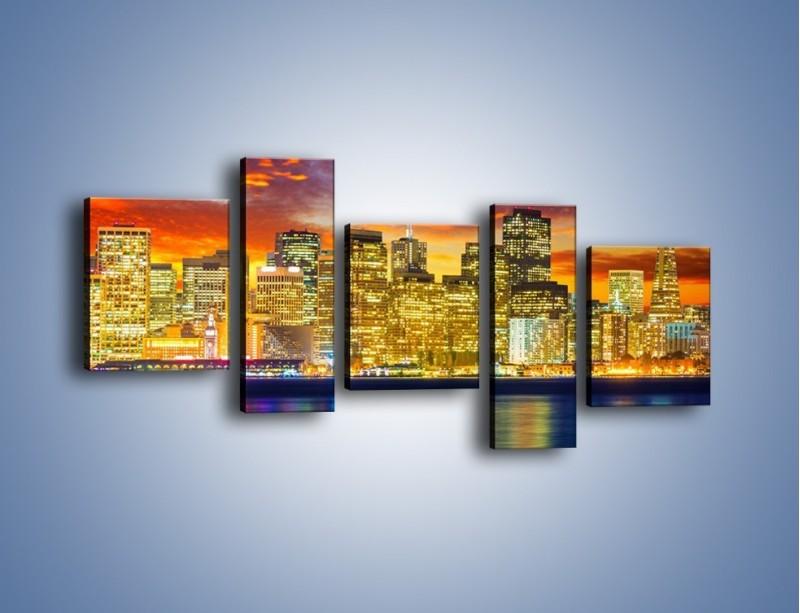 Obraz na płótnie – Wieżowce San Francisco nad wodą – pięcioczęściowy AM481W7