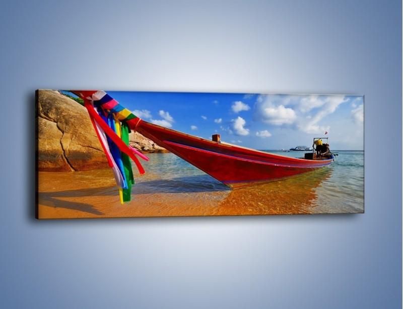 Obraz na płótnie – Kolorowa łódź na brzegu – jednoczęściowy panoramiczny KN415