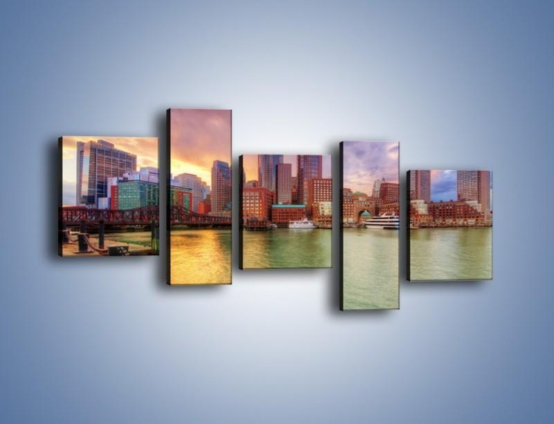 Obraz na płótnie – Widok na centrum Bostonu – pięcioczęściowy AM486W7