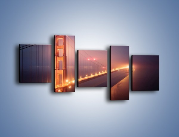 Obraz na płótnie – Most Golden Gate w nocnej mgle – pięcioczęściowy AM490W7
