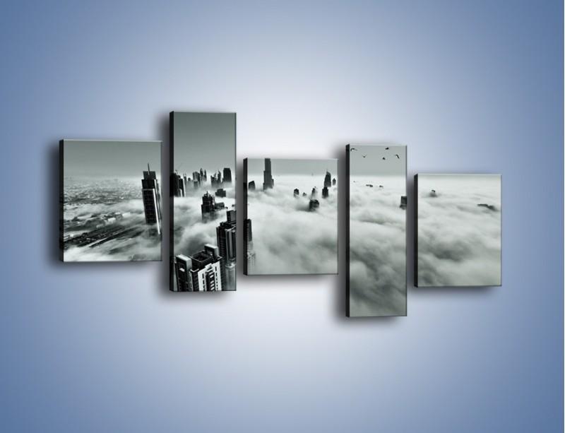Obraz na płótnie – Centrum Dubaju we mgle – pięcioczęściowy AM502W7