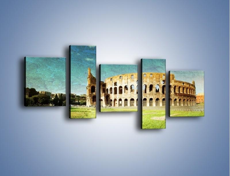 Obraz na płótnie – Koloseum w stylu vintage – pięcioczęściowy AM503W7