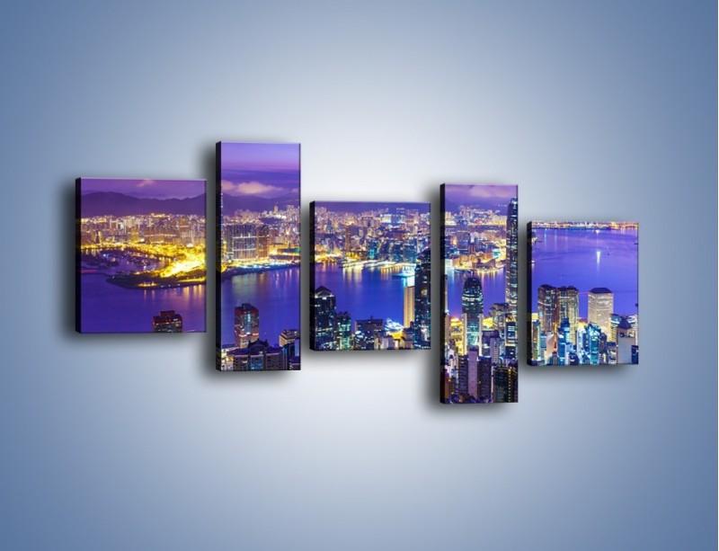 Obraz na płótnie – Wieczorna panorama Hong Kongu – pięcioczęściowy AM505W7