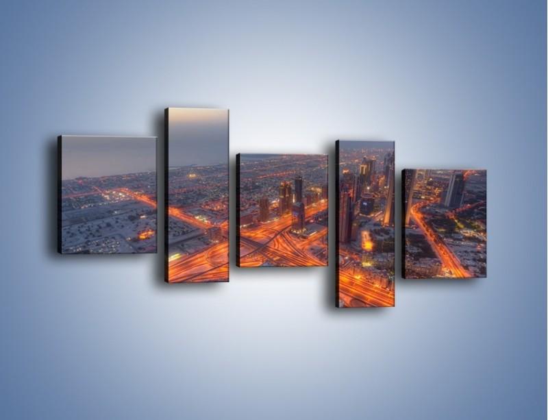 Obraz na płótnie – Panorama Dubaju o poranku – pięcioczęściowy AM538W7