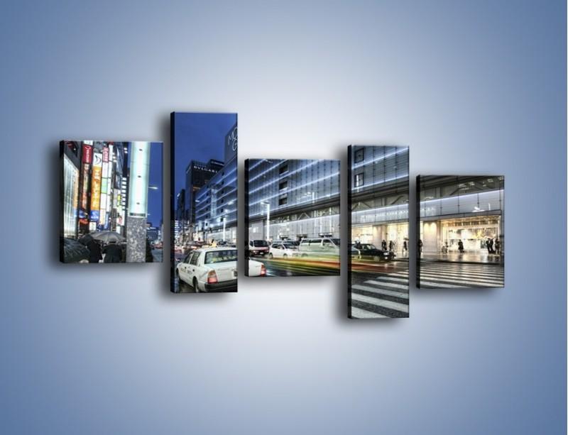 Obraz na płótnie – Ulica Tokyo w deszczu – pięcioczęściowy AM613W7