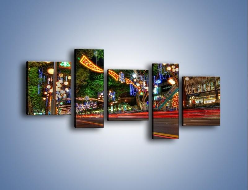Obraz na płótnie – Noworoczne dekoracje w Singapurze – pięcioczęściowy AM616W7