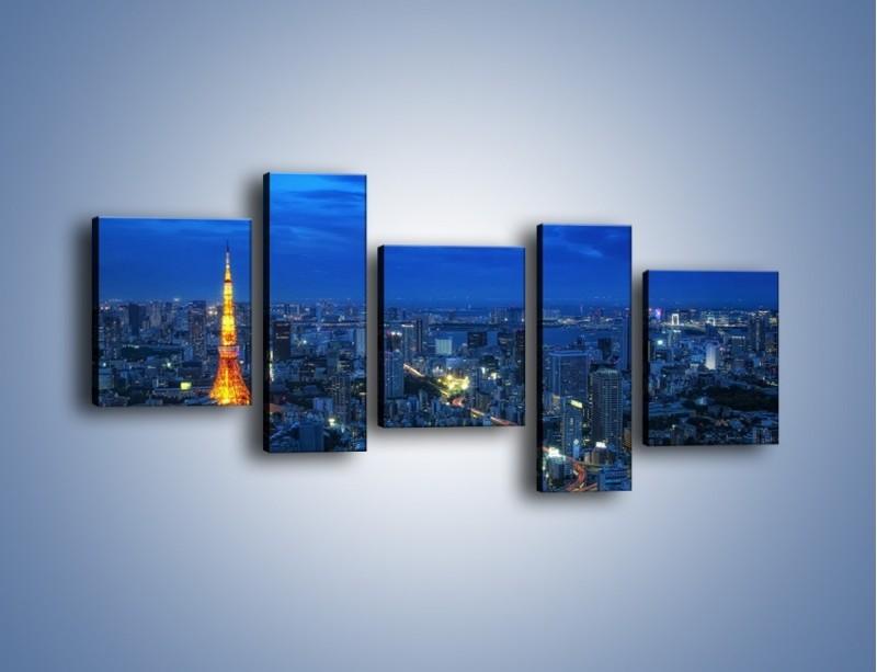 Obraz na płótnie – Tokyo Tower w Japonii – pięcioczęściowy AM621W7