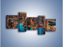 Obraz na płótnie – Centrum Dubaju wieczorową porą – pięcioczęściowy AM656W7