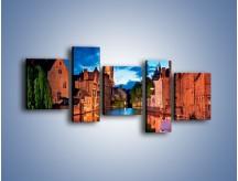 Obraz na płótnie – Budynki wzdłuż kanału w Brugii – pięcioczęściowy AM667W7