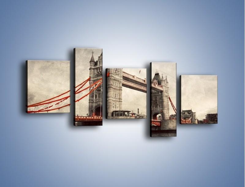 Obraz na płótnie – Tower Bridge w stylu vintage – pięcioczęściowy AM668W7