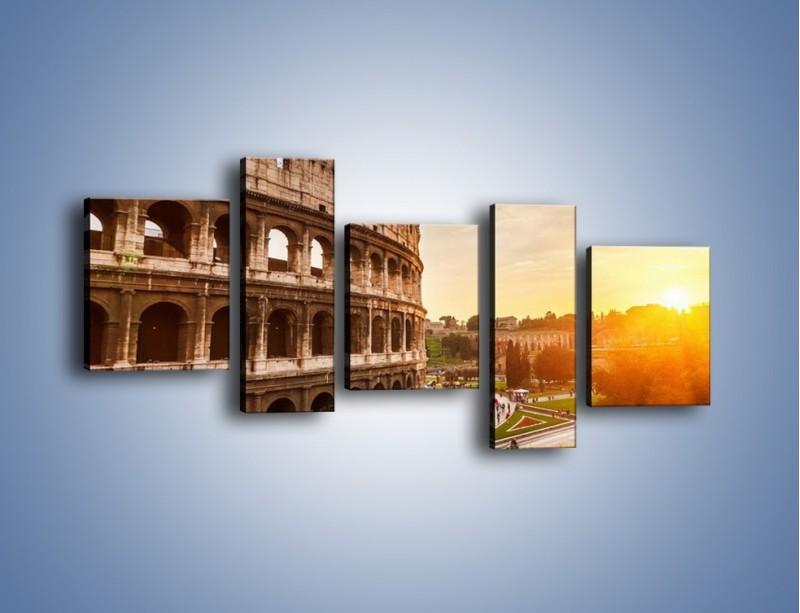 Obraz na płótnie – Rzymskie Koloseum o zachodzie słońca – pięcioczęściowy AM684W7