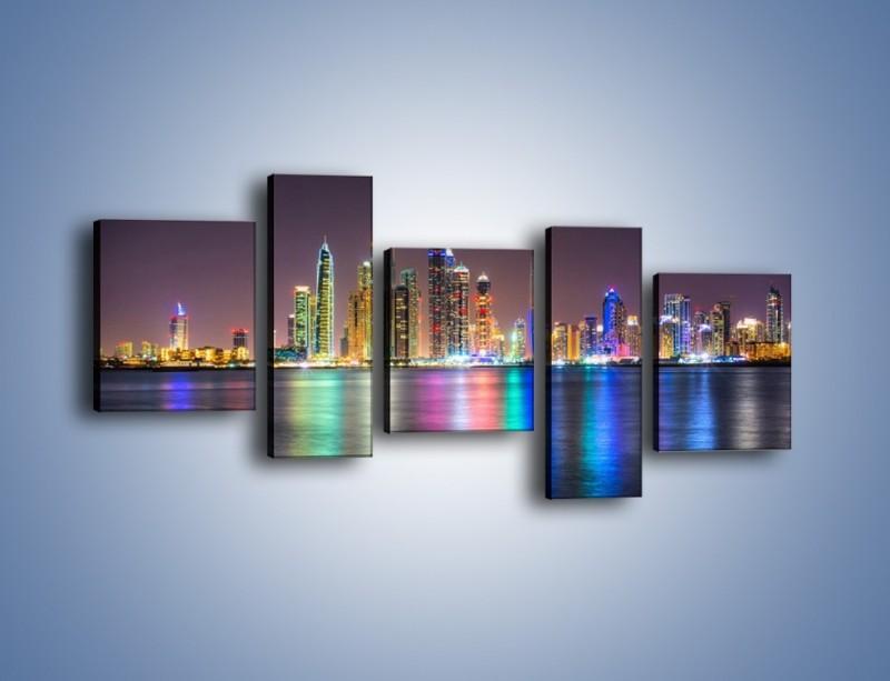 Obraz na płótnie – Kolorowe drapacze chmur w Dubaju – pięcioczęściowy AM724W7