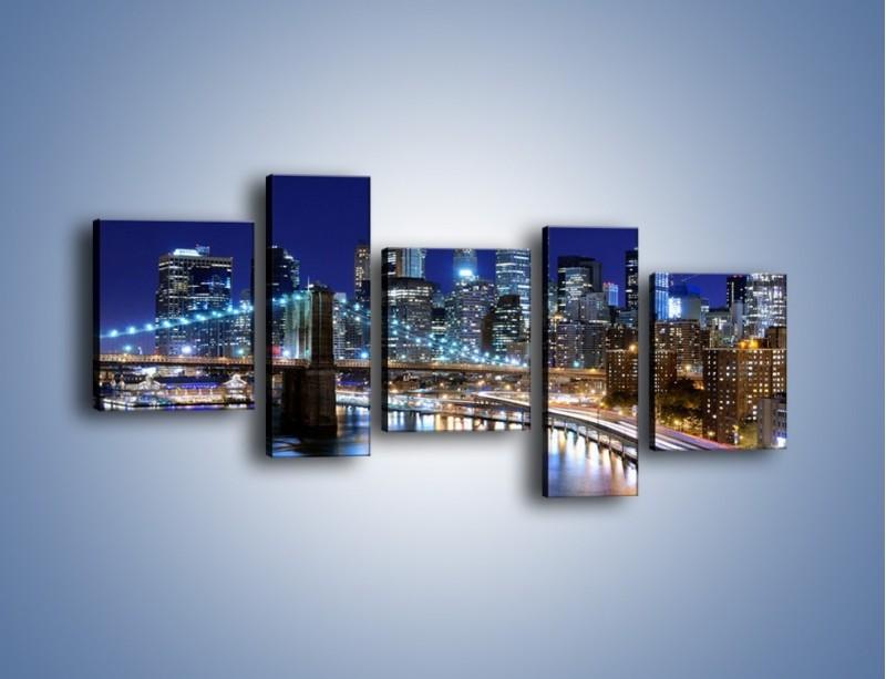 Obraz na płótnie – Nocne światła Nowego Yorku – pięcioczęściowy AM726W7