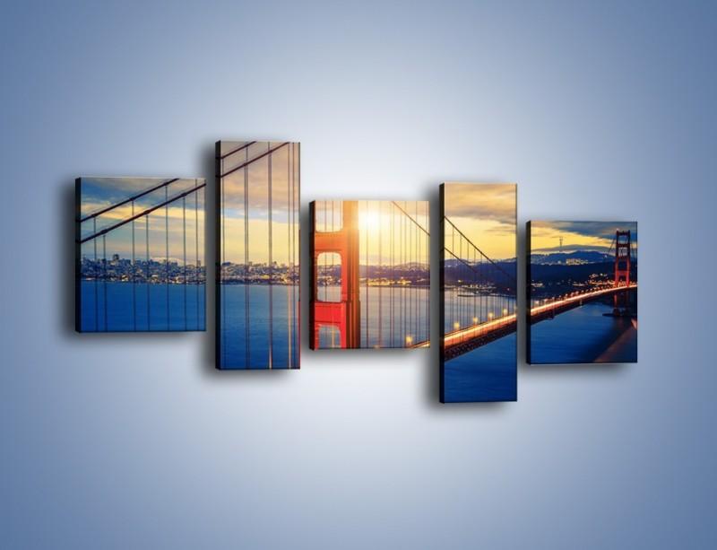 Obraz na płótnie – Zachód słońca nad Mostem Golden Gate – pięcioczęściowy AM738W7