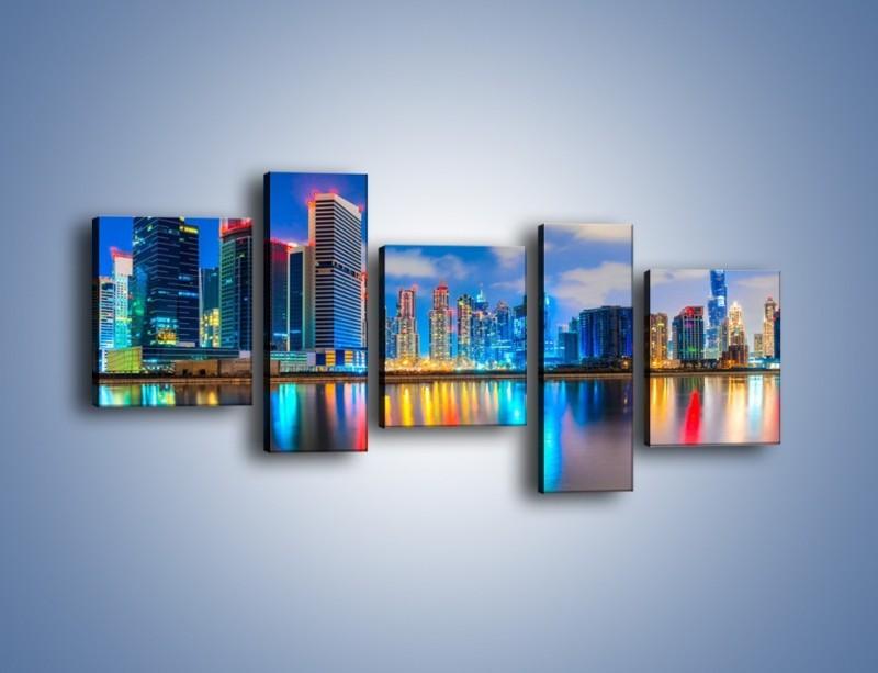 Obraz na płótnie – Kolory Dubaju odbite w wodzie – pięcioczęściowy AM740W7