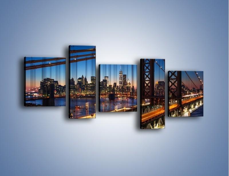 Obraz na płótnie – Nowojorskie mosty na tle Manhattanu – pięcioczęściowy AM751W7