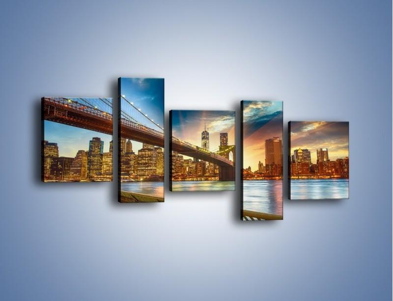 Obraz na płótnie – Most w Nowym Jorku o zmierzchu – pięcioczęściowy AM754W7